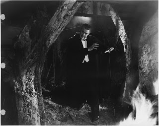 1943 Son of Dracula played by Lon Chaney Jr. just before sunlight strikes him.