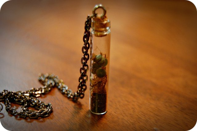 Miniature Vile of mothers of millions seeds, dirt and moss. I found this on Etsy by chillerwhale