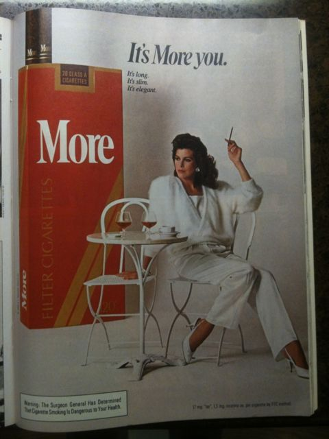 One of many cigarette ads. Mostly aimed at women.