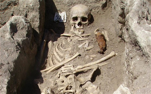The Telegraph reported that a skeleton was found in Bulgaria with an iron bar in his chest.