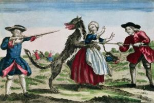 The Beast of Gevaudan, published by Basset, 1764 (color engraving). Musee Nat. des Arts et Traditions Populaires, Paris, France­