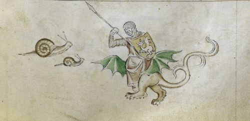 Another knight (this one riding a dragon) is about to spear two snails from The Queen Mary Psalter, c 1310-1320 via British Library