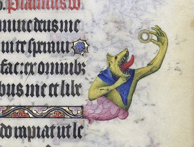 Here we have what appears to be a demon (or monster) eating a doughnut. This is from Les Grandes Heures du duc de Berry, Paris, 1409.
