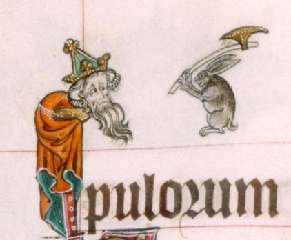 Homicidal rabbit from Gorleston Psalter, England, 14th century