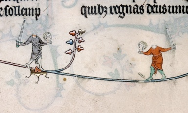 A battle between headless combatants from the Breviary of Renaud de Bar, France, 1302-1303