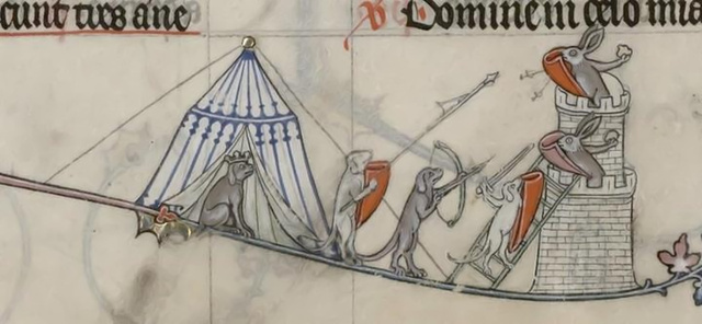 Dogs battle rabbits from the Breviary of Renaud de Bar, France, 1302-1303