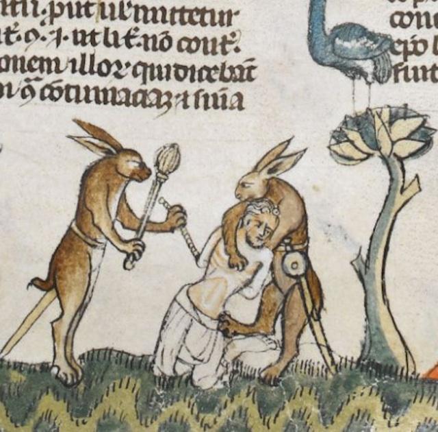 Rabbits about to kill a man from The Smithfield Decretals, c. 1300