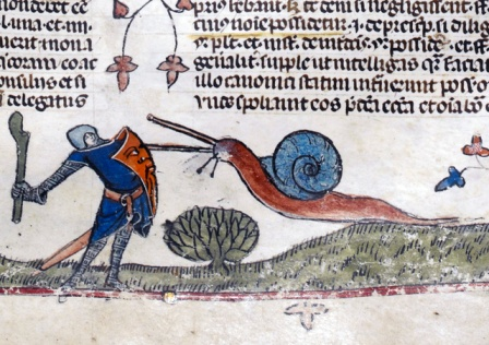 A knight about to slay an monstrous snail from The Smithsfield Decretals, decretals of Gregory IX, Tolouse, c. 1300. Illuminations were added about forty years later in London.