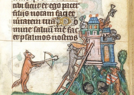 Here, foxes siege a castle of monkeys from a 13th-century Bible.