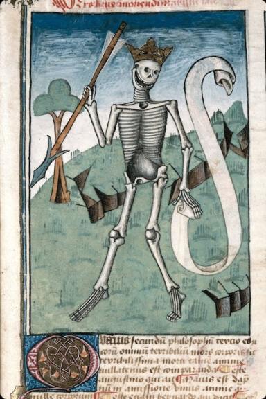 I included this skeleton from Ars bene moriendi (France, 1470-1480) mostly because I love skeletons.