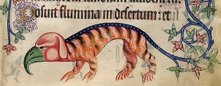 Bizarre bird-cat from the Luttrell Psalter, Add 42130 f.197r, c.1325-1335