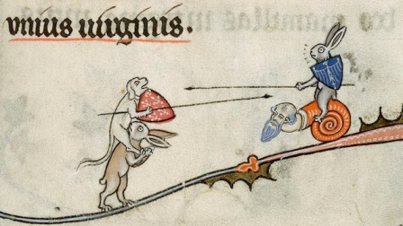 A dog and a rabbit joust. Source unknown.