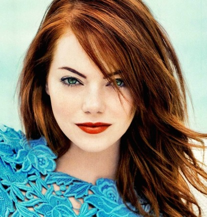 I always described Lindsay with a sweep of red hair grazing her face, and here's Emma with the same look. Perfect!