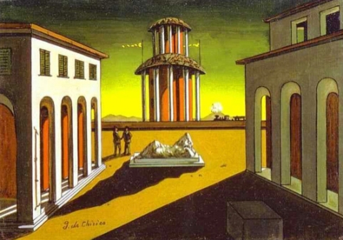 Piazza d'Italia signed 'g. de Chirico' (lower left) oil on canvas 11 7/8 x 15¾in. (30 x 40cm.) Painted circa 1956