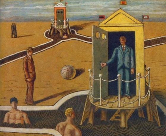 Giorgio de Chirico (1898 - 1978. Grêce). Visite aux Bains mystérieux I, 1935